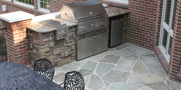 Brick Fireplace and Paver Stone Patio