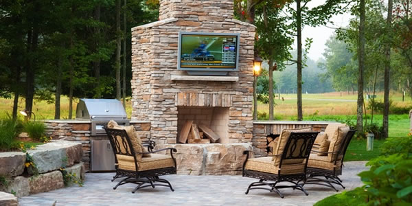 Brick Paver Patio and Brick Fireplace